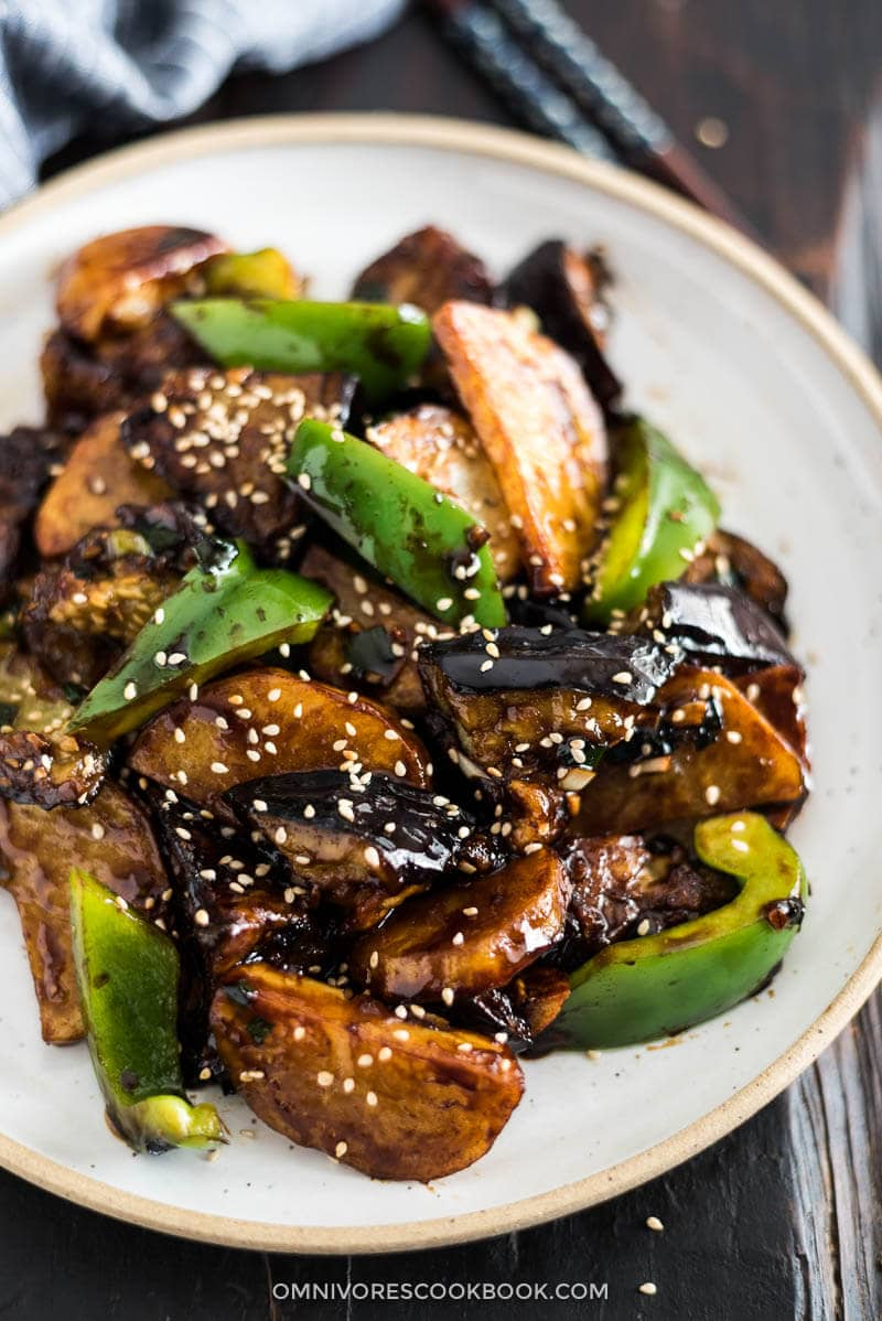 Di San Xian (Fried Potato, Eggplant and Pepper in Garlic Sauce 地三鲜) - Vegan | Gluten-Free | Stir-Fry | Chinese Recipe