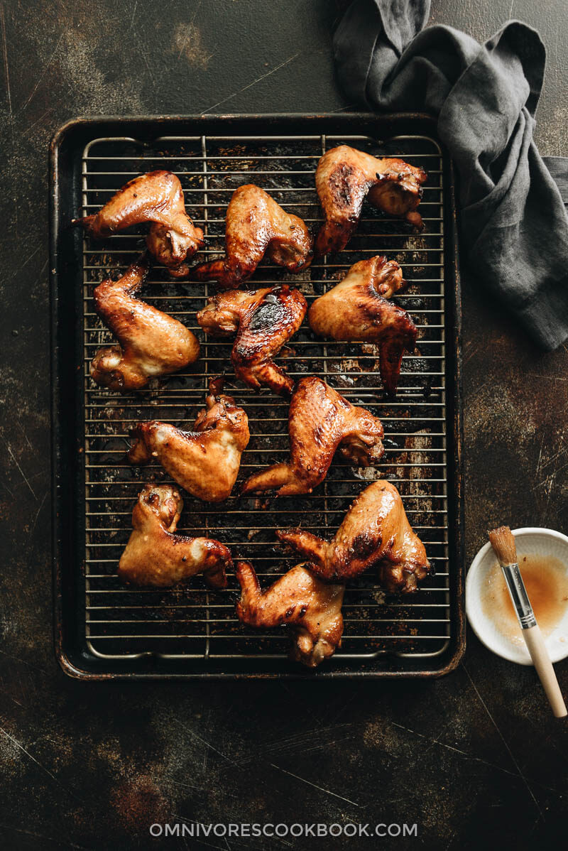 Baked honey soy chicken wings on baking rack