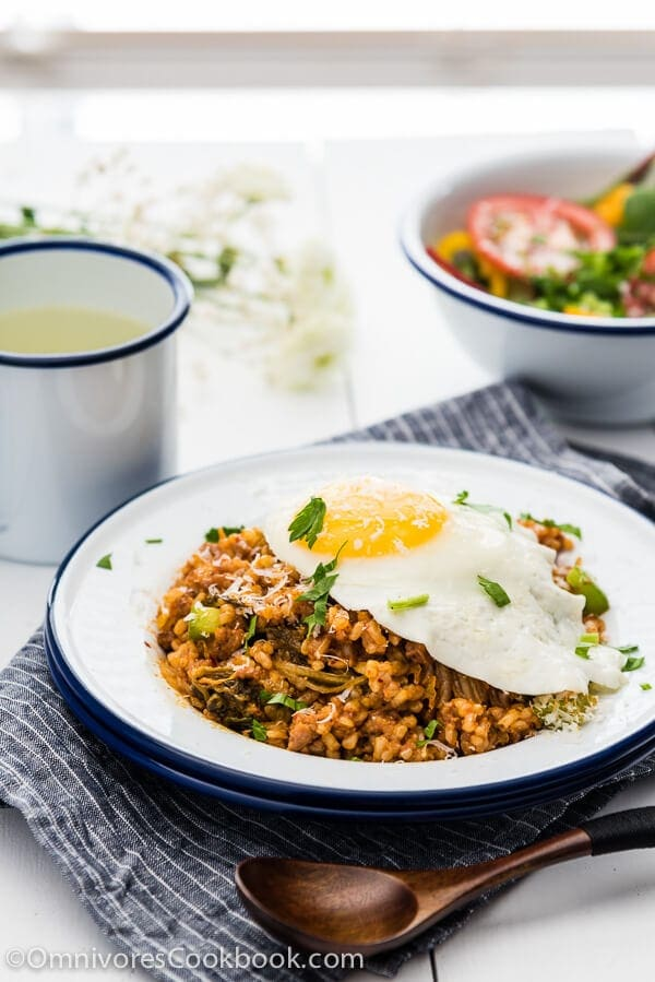 Easy Kimchi Fried Rice - Use this flexible recipe to create delicious fried rice with whatever ingredients you have on hand in 10 minutes. | omnivorescookbook.com