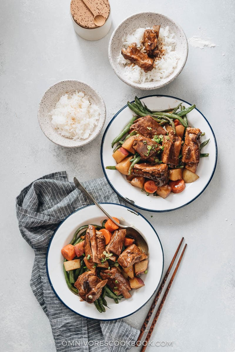 Asian Braised Pork Ribs (红烧排骨) - An easy recipe that promises fall-off-the-bone ribs with a rich, savory taste. Freezer-friendly and perfect for meal prep. {Gluten Free Adaptable}