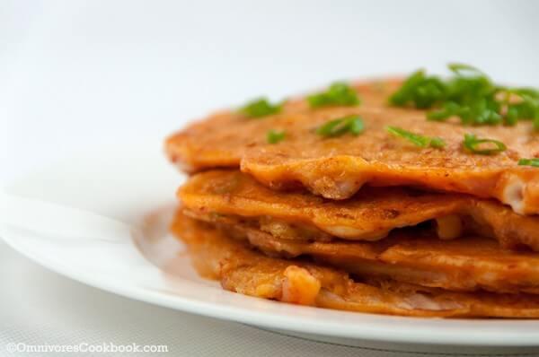 Cheesy kimchi pancake