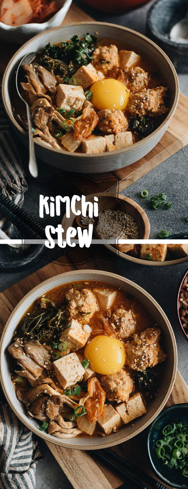 Kimchi Stew with Tofu and Meatballs - A scrumptious one pot dinner loaded with veggies.