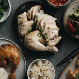Homemade Hainanese Chicken Rice served with red chili sauce