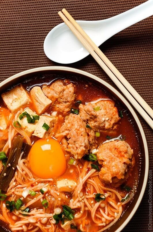 Kimchi Tofu Meatball Stew - 20 Chinese Recipes You Need to Try Out in 2015 | omnivorescookbook.com