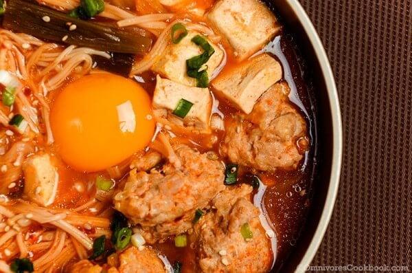Kimchi Tofu Meatball Stew