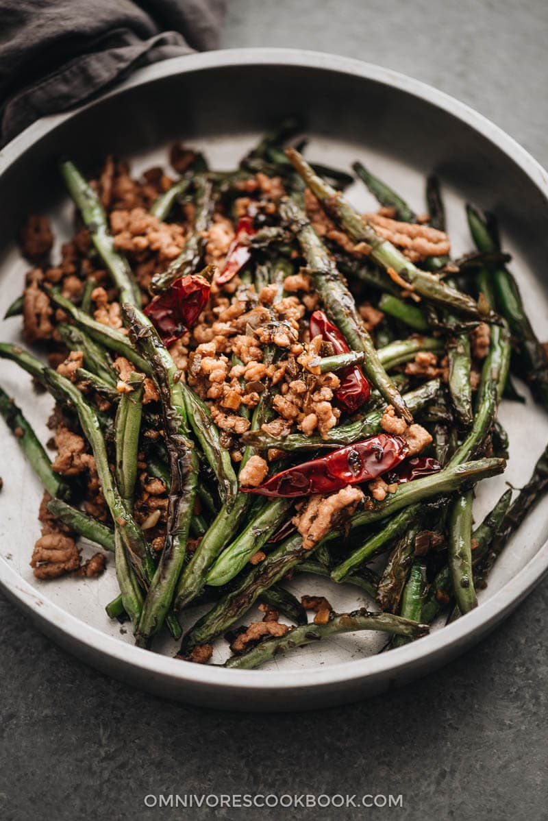 Sichuan Dry Fried Green Beans (干煸四季豆) - {Vegan Adaptable, Gluten Free Adaptable}