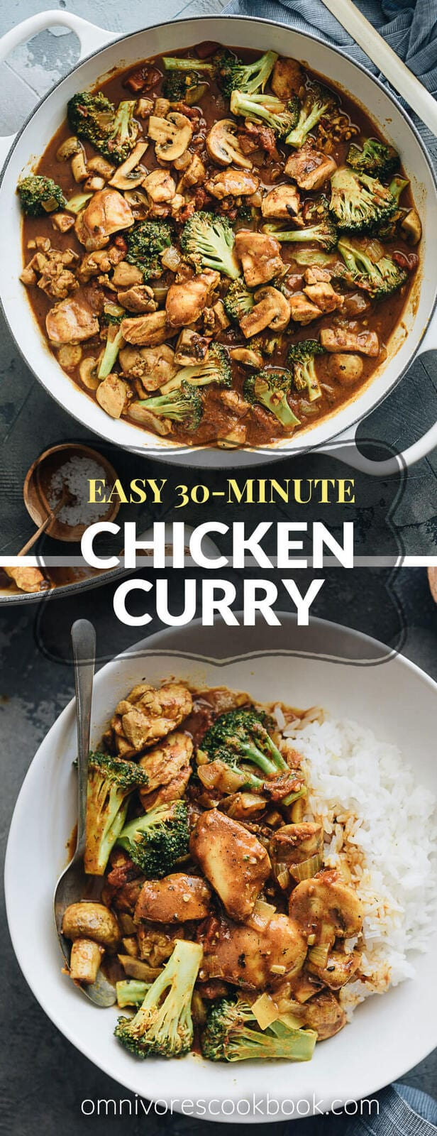 Easy Healthy Chicken Curry - A quick and simple recipe that produces super rich gravy and juicy chicken and is loaded with vegetables. #chinese #butter #yellow #thighs #glutenfree