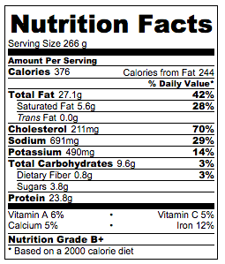 Real-Deal Moo Shu Pork Nutrition Facts
