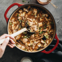 Hot and Sour Soup (酸辣汤) - Authentic Chinese restaurant-style hot and sour soup made easy. The hearty broth is loaded with veggies and is so satisfying and healthy. The recipe includes notes on how to tweak the soup into a vegetarian one and to use whatever veggies you have on hand. #takeout #recipes #traditional