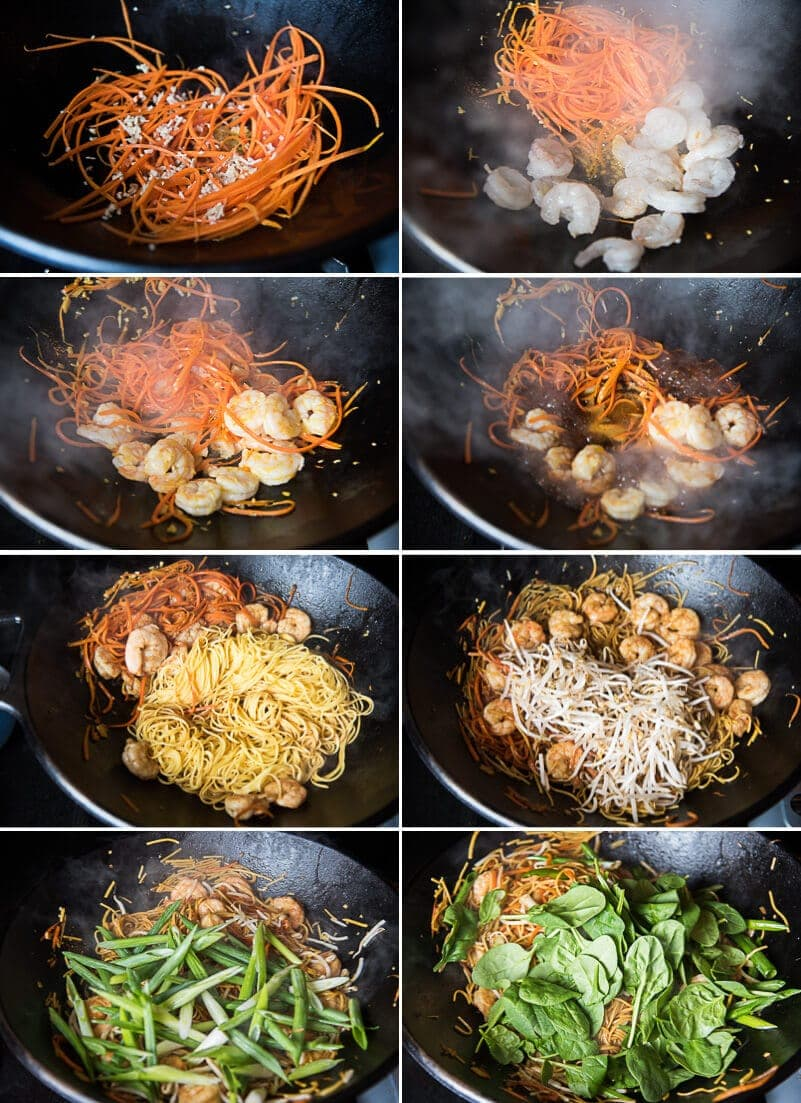 Shrimp Chow Mein Cooking Process