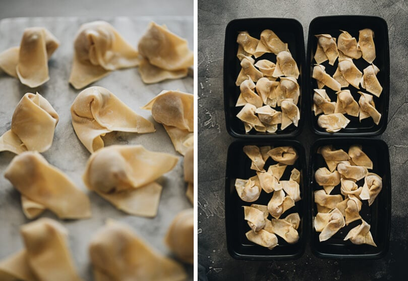 Wrapped wontons in meal prep containers