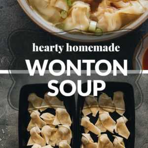 Classic Chinese-restaurant wonton soup features pork and shrimp wontons served in a hearty chicken soup. An authentic Chinese street vendor soup base is also included in the recipe!