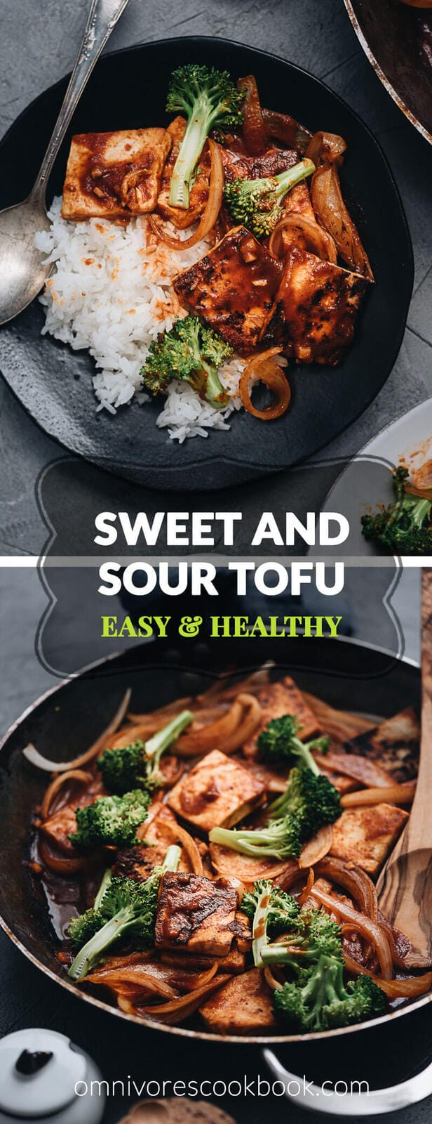 Sweet and Sour Tofu - A favorite Chinese dish with a meatless twist that gives you the contrast of sweet and sour for a healthy meal any night of the week. {Vegetarian, Vegan, Gluten-free}
