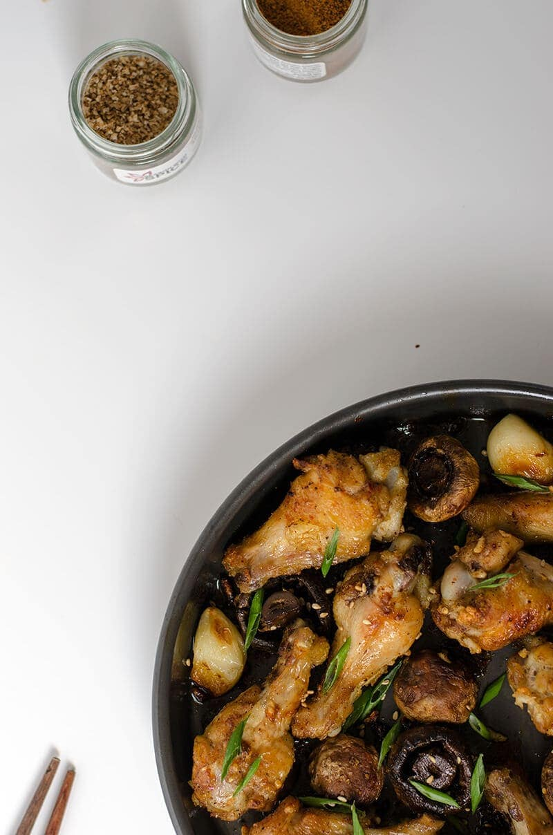Szechuan style baked chicken wings with mushroom | Omnivore's Cookbook