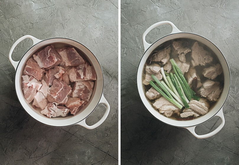 Braised pork belly process shots