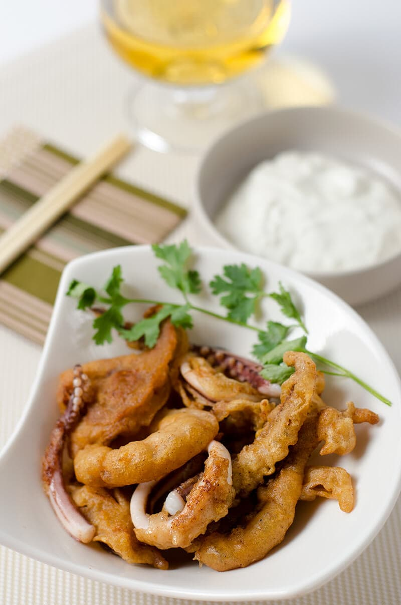 Beer Battered Calamari with Yogurt | Omnivore's Cookbook