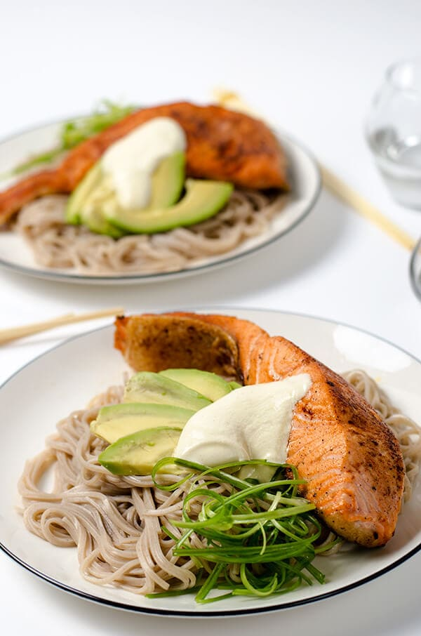 Crispy Salmon with Soba Noodles and yogurt Sauce | Omnivore's Cookbook