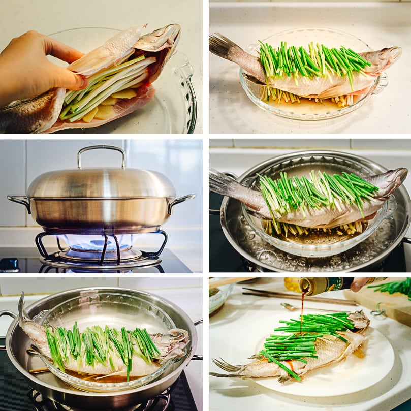 Chinese steamed fish cooking step-by-step