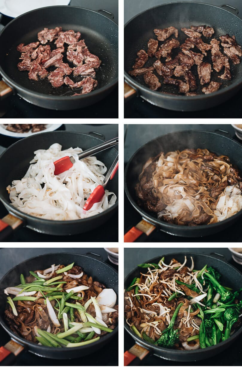 Real-Deal Beef Chow Fun Cooking Process