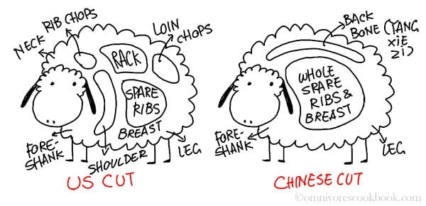 Comparison of American and Chinese Cut of Lamb | omnivorescookbook.com