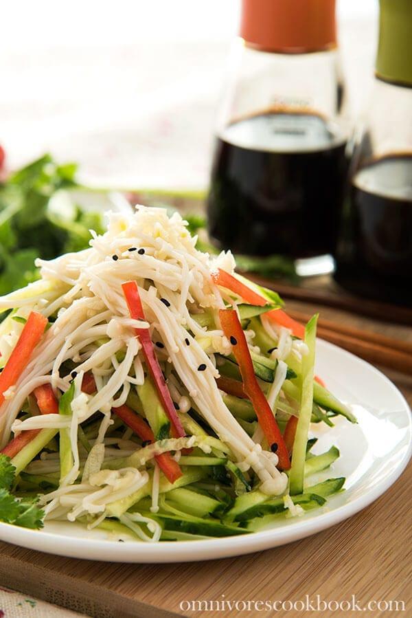 Golden Needle Mushroom Salad | omnivorescookbook.com
