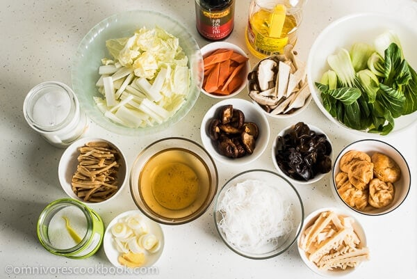 Buddha's Delight (Jai, Chinese Vegetarian Stew) Ingredients | omnivorescookbook.com
