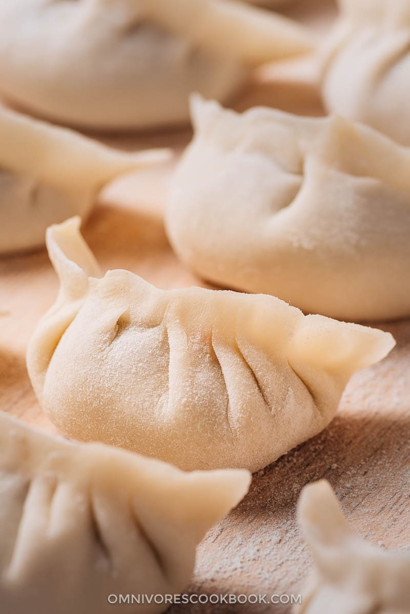 Uncooked Chinese dumplings close-up