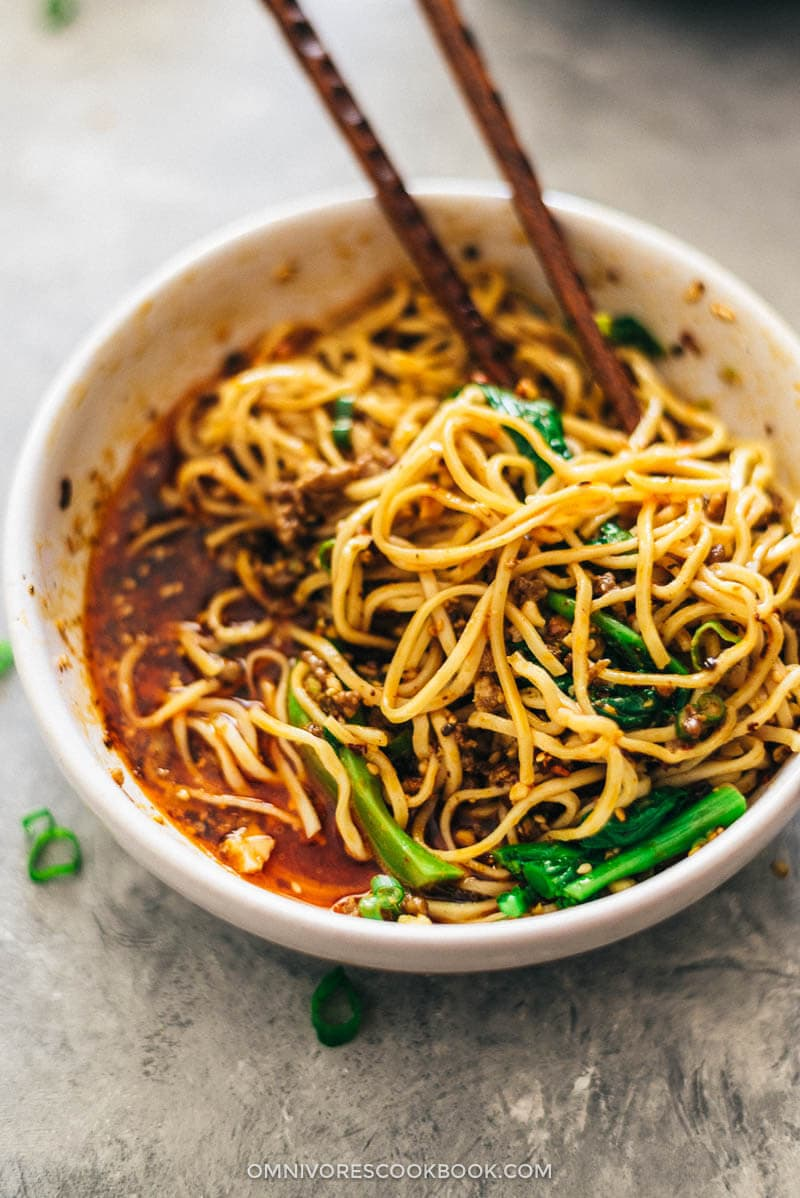Dan dan Noodles (担担面) | Noodles | Chinese Food | Chinese | Sichuan | Homemade | Peanuts | Spicy | Bowls