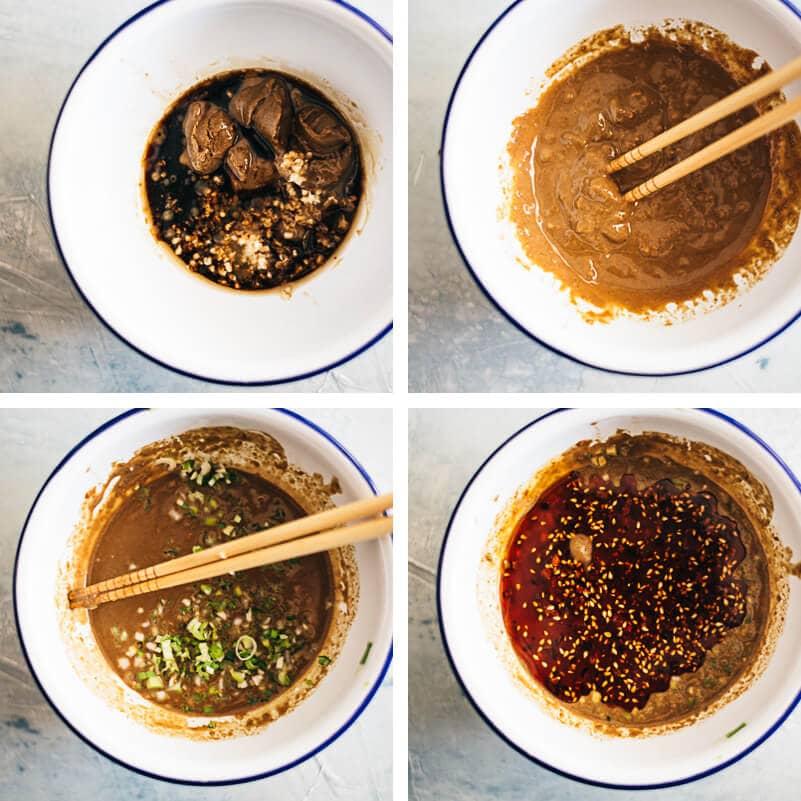 Dan Dan Noodles Cooking Process