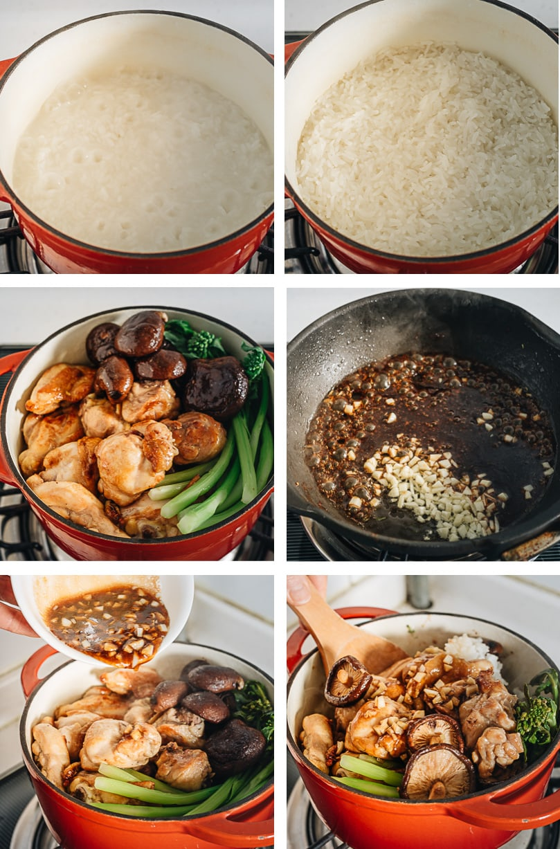 Clay pot chicken cooking step-by-step