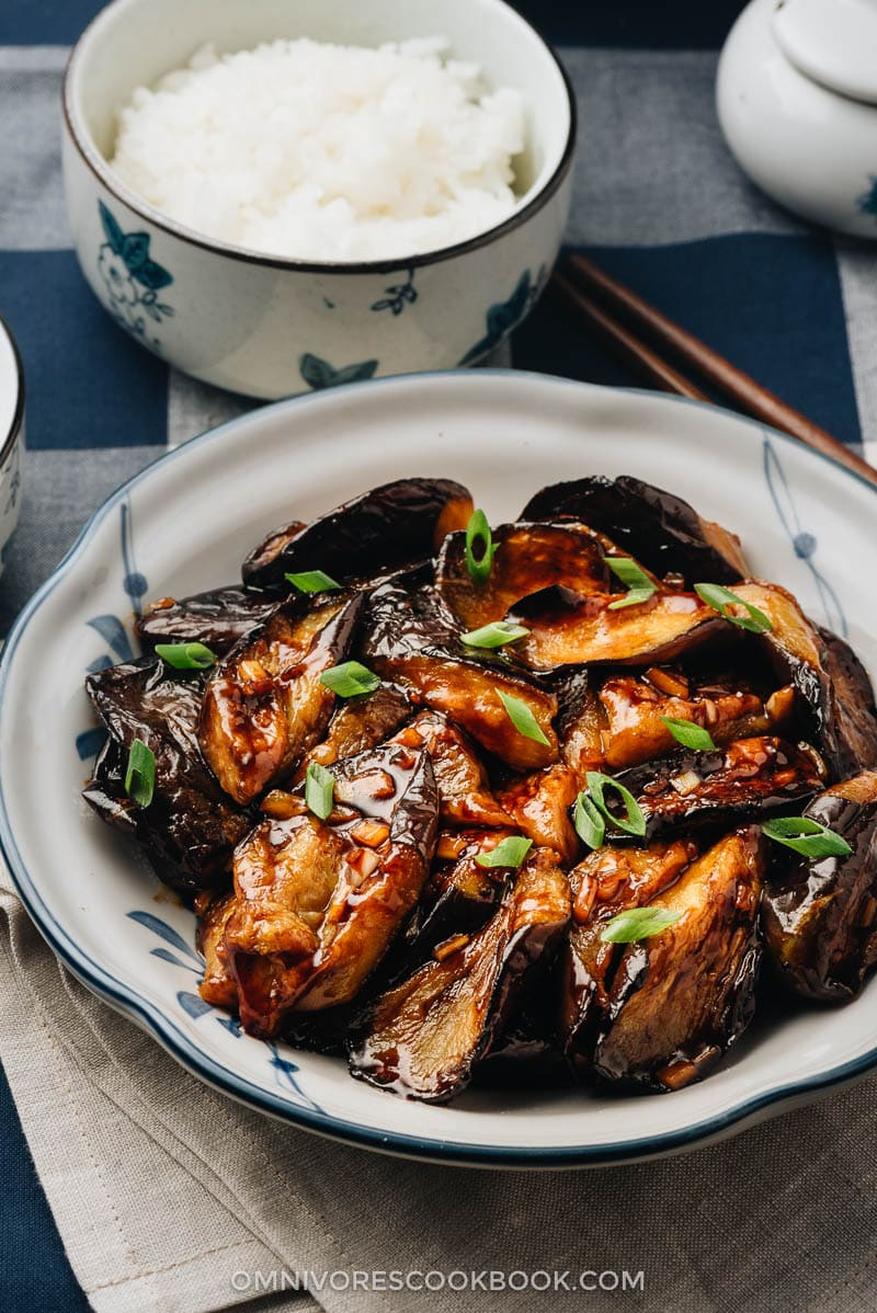 Homemade Chinese eggplant with garlic sauce
