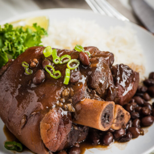 Braised Pork Shank with Black Beans - an easy one-dish meal that requires very little active cooking time and ensures the best flavor. | omnivorescookbook.com