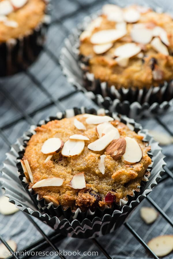 Cranberry Coconut Flour Muffins - Super creamy and moist, only contains 175 calories per muffin!   omnivorescookbook.com