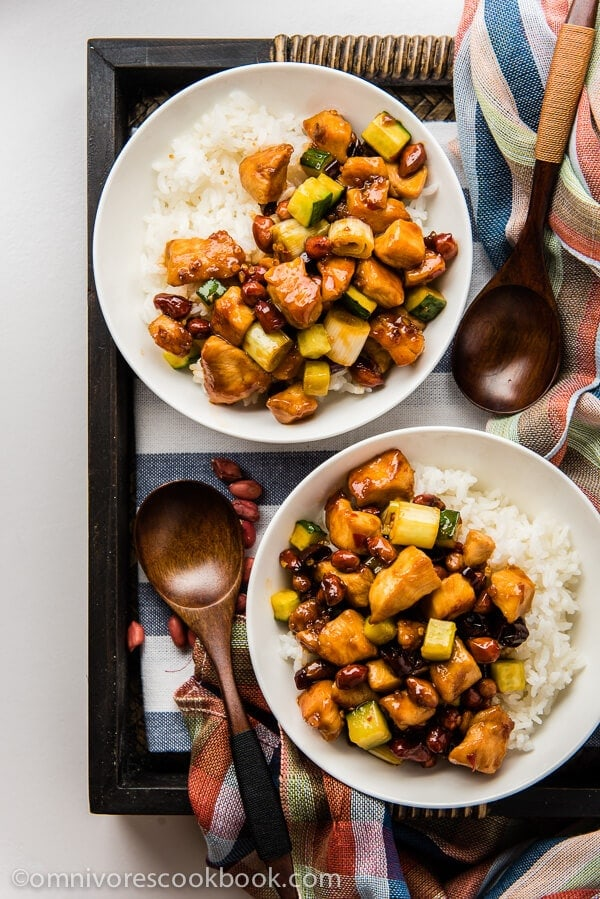 Kung pao chicken - a quick version that only requires 20 minutes to prepare. Use this method and you'll always create moist and tender chicken with no fuss! | omnivorescookbook.com