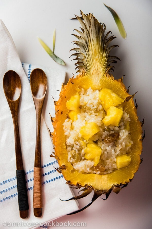 Yunnan Style Pineapple Rice - Gooey and sweet with a nice fruity aroma. It's a creative side dish that tastes as good as a dessert | omnivorescookbook.com