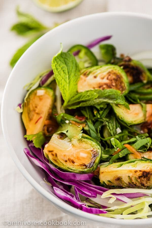 Thai Brussels Sprouts Salad - A wonderful side dish that is bursting with flavor, full of nutrition, and can be on the table in 30 minutes. | omnivorescookbook.com