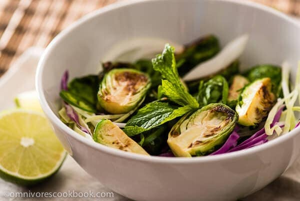 Thai Brussels Sprouts Salad - A wonderful vegan side dish that is burst with flavor, full of nutritions, and can be finished within 30 minutes   omnivorescookbook.com