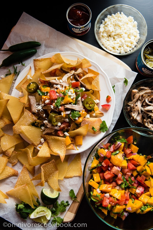 Barbeque Pork And Wonton Nachos Recipe — Dishmaps