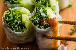 Summer Kale Rolls - Try dipping this skinny roll in homemade hoisin sauce once, and you'll enjoy eating healthy food all the time! | omnivorescookbook.com