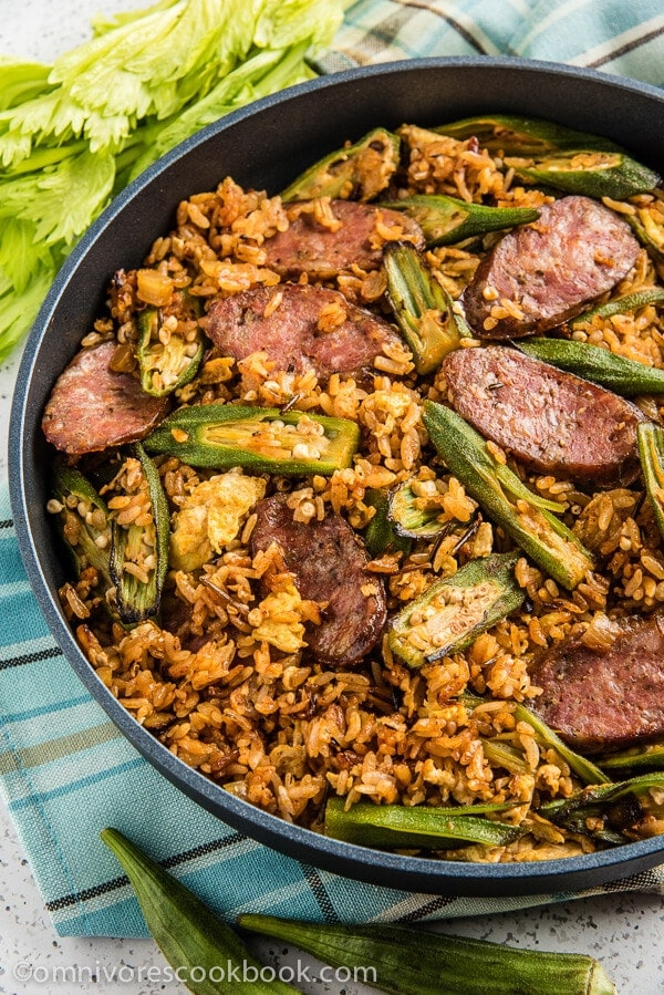Jambalaya Fried Rice - Use cajun seasonings with smoked sausage and okra to create this fusion rendition of a classic dish in 30 minutes! | omnivorescookbook.com