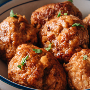 Chinese pork meatballs close-up