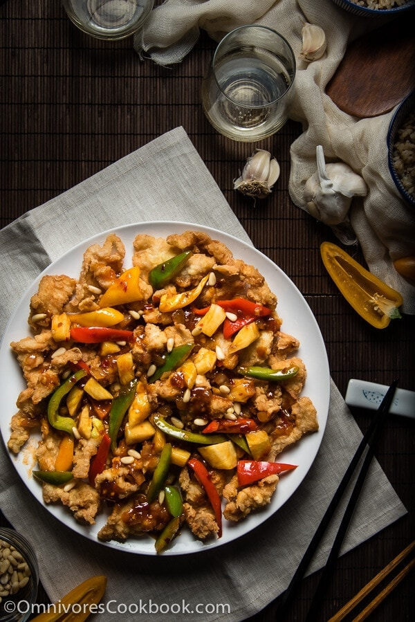 Sweet and Sour Fish - Perfectly fried fish + three-ingredient sweet chili sauce + colorful veggies = YUM!   omnivorescookbook.com