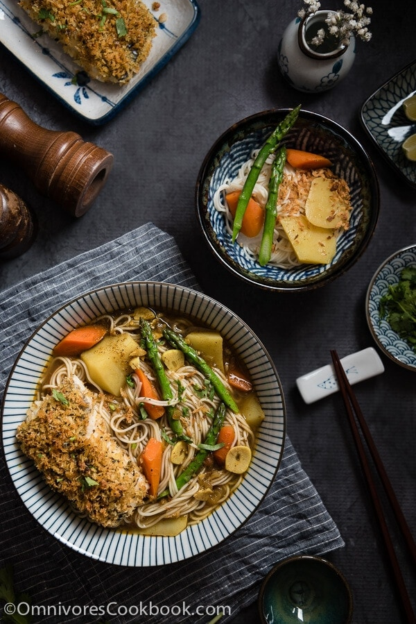Oven Fried Fish Curry Noodle Soup - an easy, comforting, healthy, and flexible one-dish meal | omnivorescookbook.com