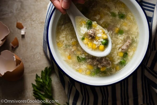 Traditional Egg Drop Soup (鸡蛋玉米羹) - The ultimate comfort food you can easily create at home | omnivorescookbook.com