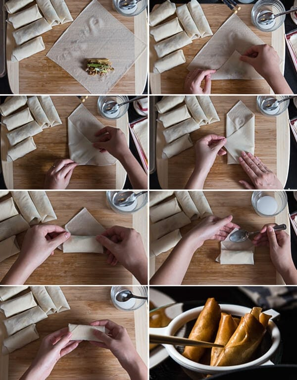 Cantonese Chicken Egg Roll Cooking Process | omnivorescookbook.com