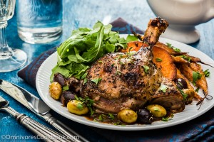 Mediterranean Slow Roast Duck - This slow roast duck features very tender meat, super crispy skin (just like confit), and a sumptuous olive sauce. It will take quite some time and effort to cook, but it'll definitely be a highlight on your dinner party's menu. | omnivorescookbook.com