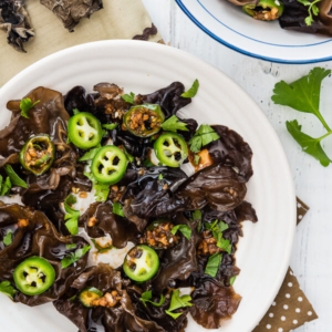 Wood Ear Mushroom Salad (凉拌木耳) - A simple and refreshing appetizer served with a savory sauce. | omnivorescookbook.com