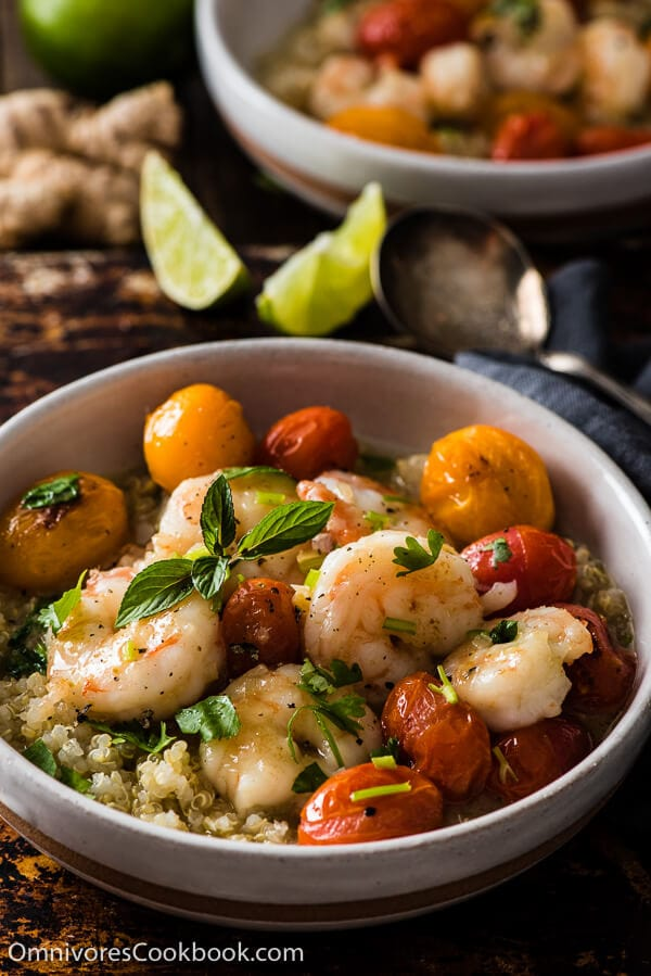 Green Curry Shrimp - A quick fix for a comforting, delicious, and healthy meal. The cooking is simple, foolproof, and forgiving. Learn all the tips for creating your own shrimp curry without a recipe. | omnivorescookbook.com