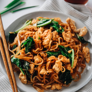 Fried noodles close-up