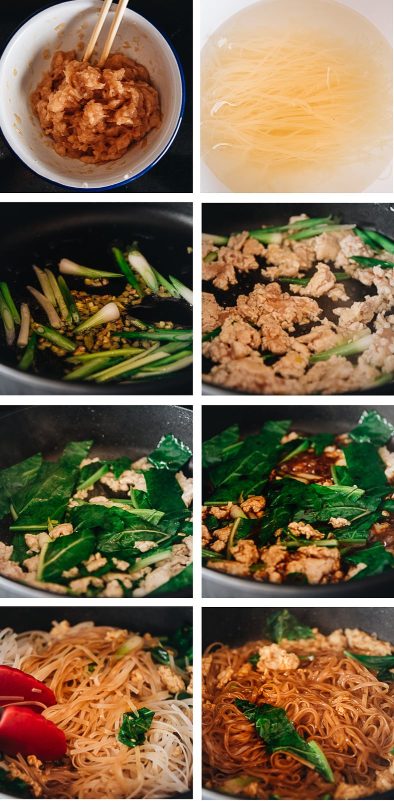 Homemade fried noodles cooking step-by-step